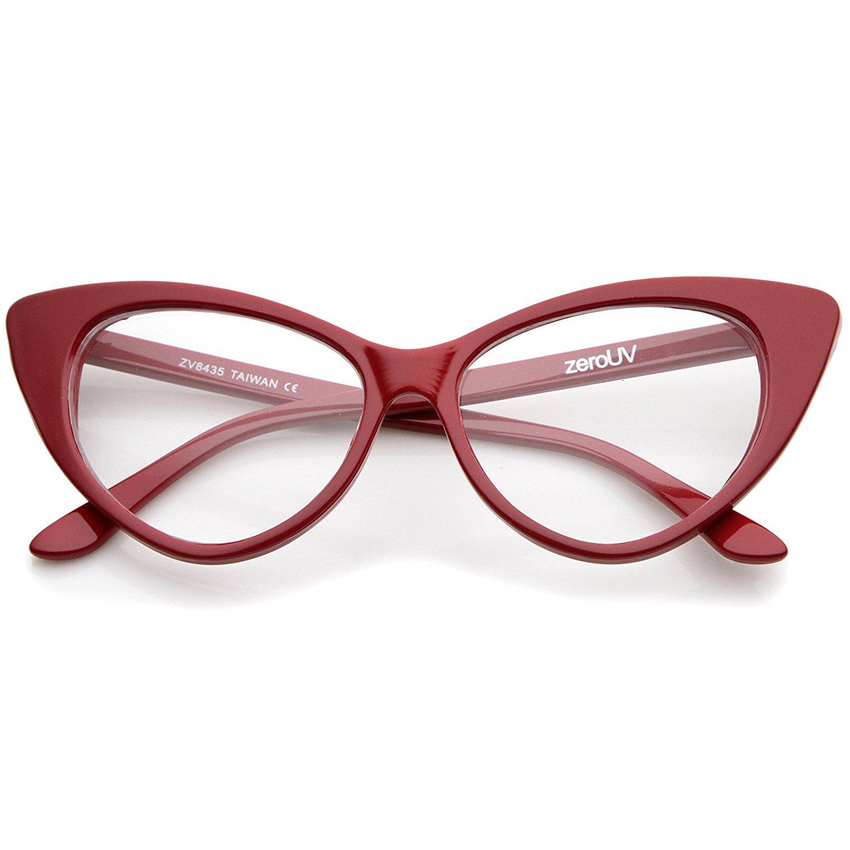 zeroUV - Super Cat Eye Glasses Vintage Inspired Mod Fashion Clear Lens Eyewear