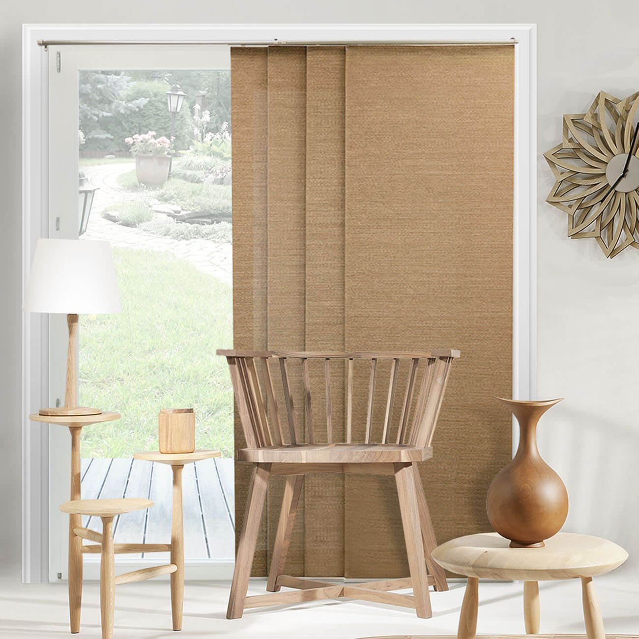 """879336008970 Chicology Adjustable Sliding Panels Up To 80""""W X 96""""H Birch Truffle (Natural Woven)"""