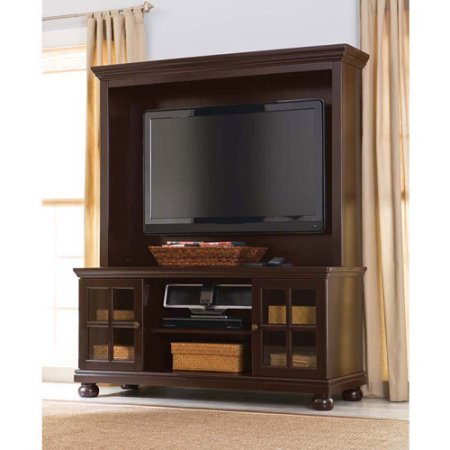 Better Homes and Gardens Espresso Elegant TV Stand with Hutch, Mullion framed doors, for TVs up to 50""
