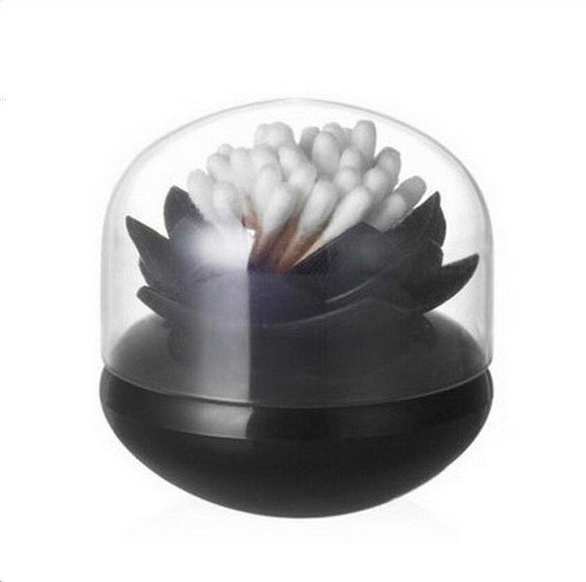Bloss Cute Lotus Cotton Swab Holder Q-tips Storage Organizer Bathroom Decorative Organizer, Black
