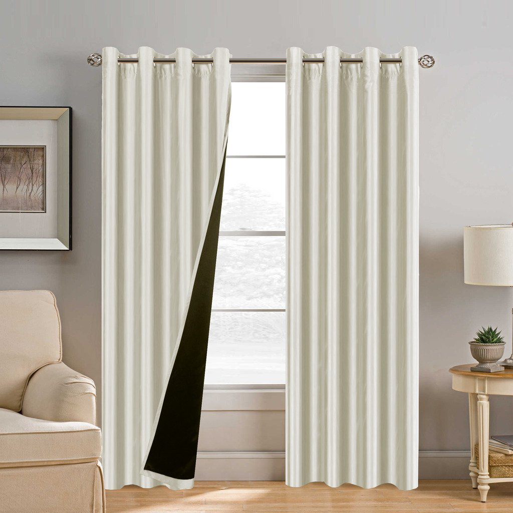 H.Versailtex 84 inch Full Blackout Curtains for Bedroom, Dupioni Faux Silk Lined Curtain Panels - Thermal Insulated & Energy Efficiency, Nickel Grommet (Set of 2, 52 x 84, Ivory)