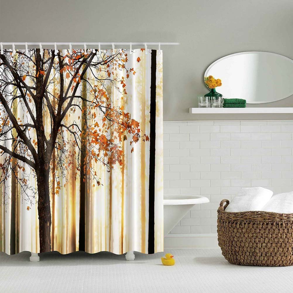 Infinal Shower Curtain Fall Trees Print Mom Gift Ideas Polyester Fabric Hooks Included, Orange Ivory Brown Beige