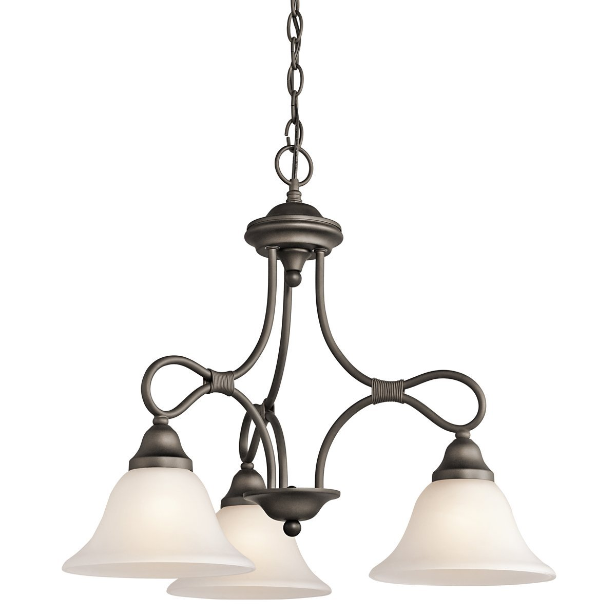 Kichler Lighting 2556OZ Stafford 3-Light Chandelier, Old Bronze Finish with Satin Etched Glass Shades
