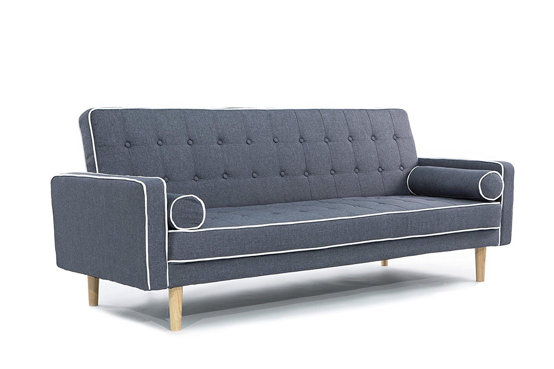 Mid-Century Modern Two Tone Vintage Linen Sleeper Futon Sofa (Dark Grey)