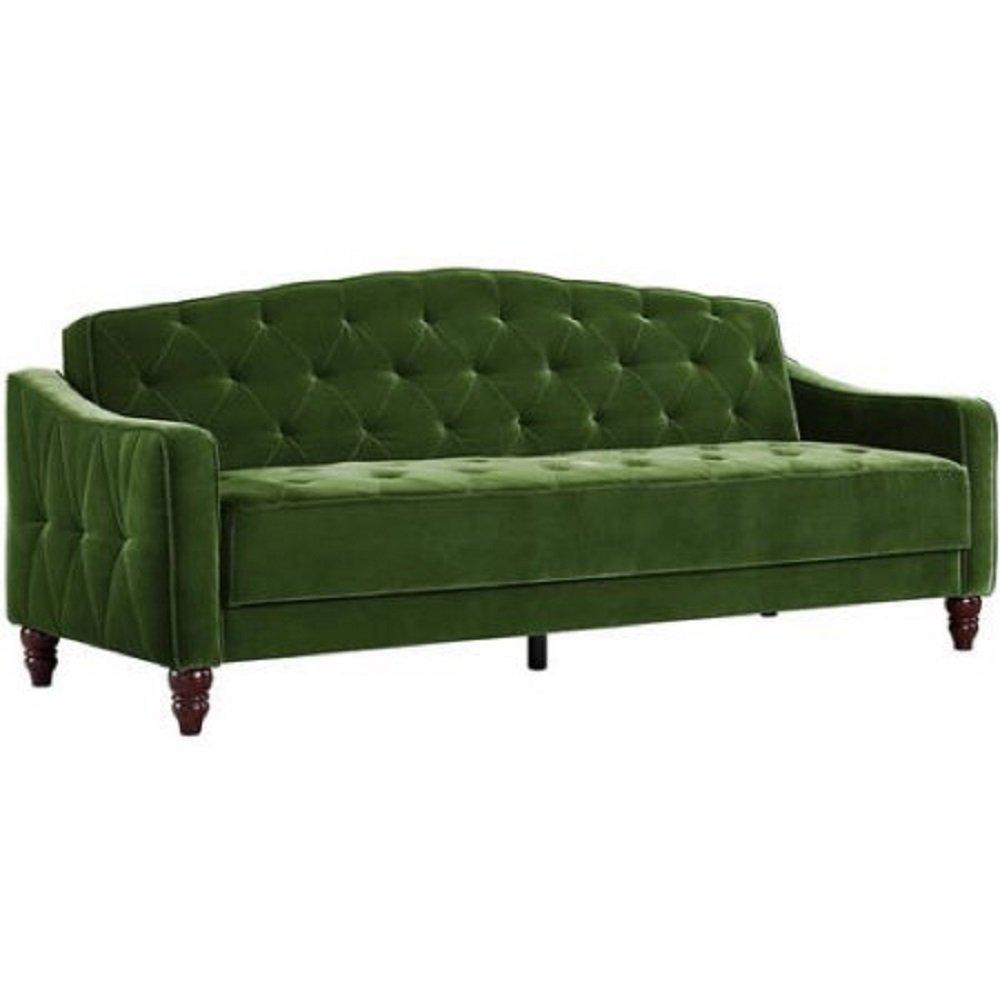 Novogratz Vintage Tufted Sofa Sleeper II (Green Velour)
