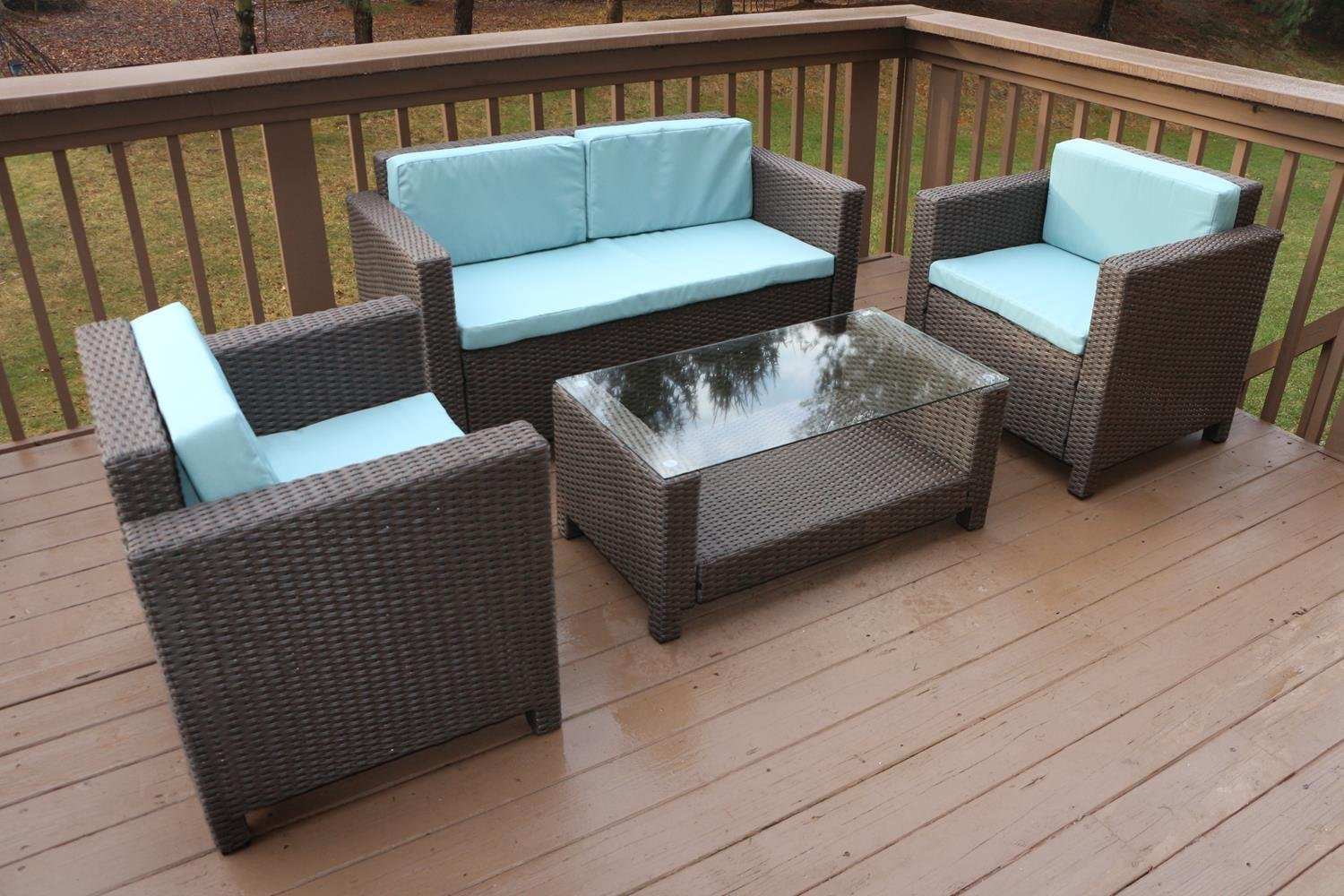 Oliver Smith - Large 4 Pc Modern Brown Rattan Wiker Sofa Set Outdoor Patio Furniture - Aluminum Frame with Ottoman - 1127 Light Blue