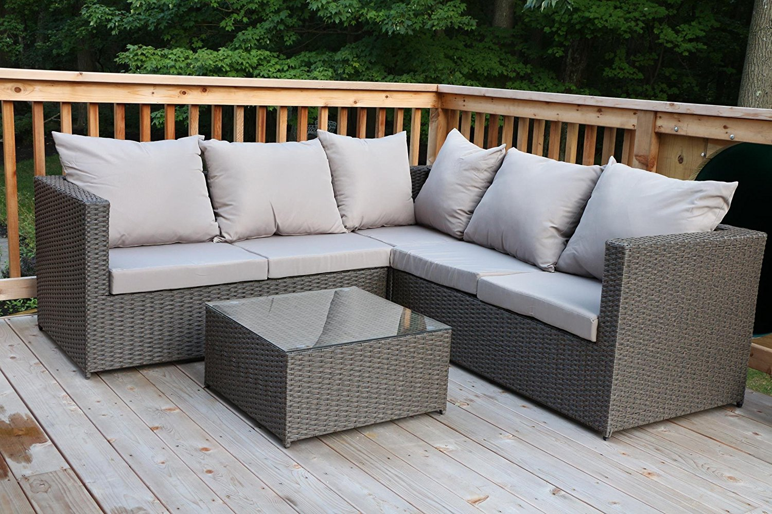 Oliver Smith - Large 4 Pc Modern Rattan Wiker Sectional Sofa Set Outdoor Patio Furniture - Fully Assembled - Aluminum Frame with Ottoman - 908 Grey