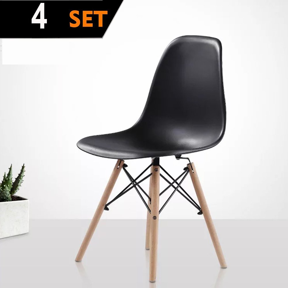 Purzest Dining Room Chairs Set of 4,Mid Century Modern Dining Room Chairs with Natural Legs- Eames Style Chair, Black