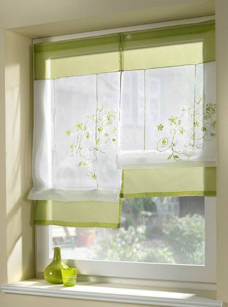 Uphome 1pcs Country Style Embroidered Flower Voile Roman Curtain - Silk Ribbon Lifting Back Tab/Rod Pocket Sheer Window Curtain,31 x 39 Inch,Green
