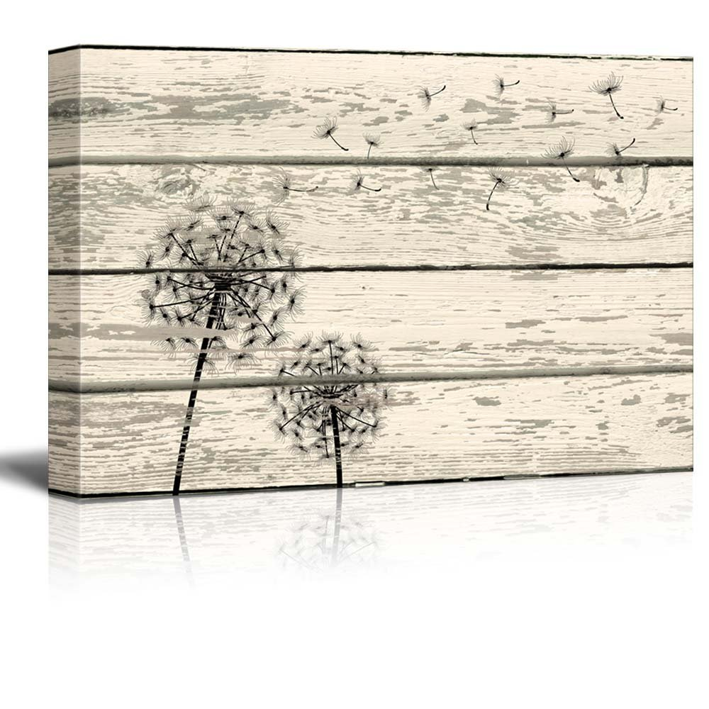 """Wall26 Rustic Canvas Prints Wall Art - Dandelion Artwork on Vintage Wood Board Background Stretched Canvas Wrap. Ready to Hang - 12"""" x 18"""""""