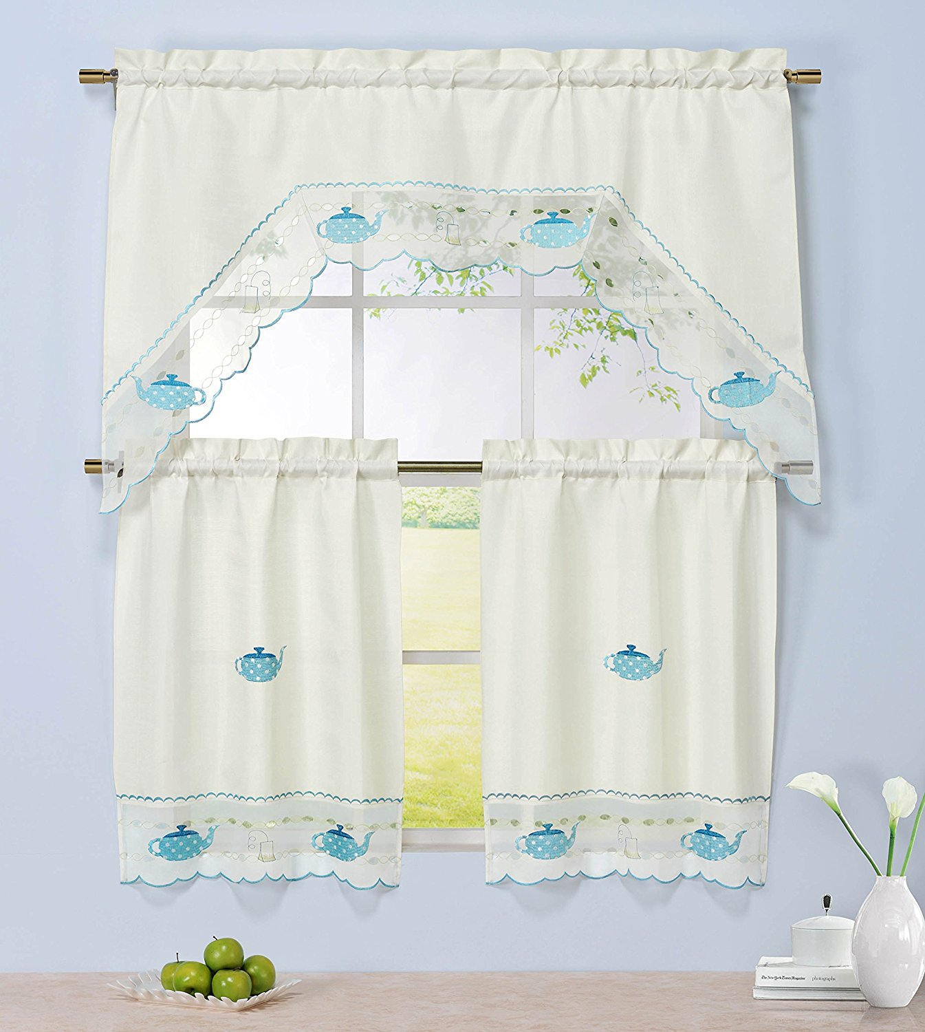 Window Elements Embroidered 3-Piece Kitchen Tier and Valance 60 x 72 Set with Scalloped Border, Tea Party