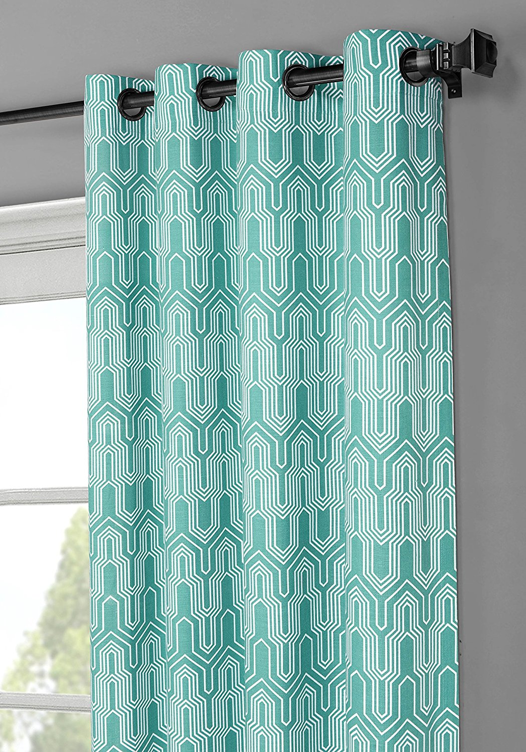 Window Elements Juneau Printed Cotton Extra Wide 104 x 96 in. Grommet Curtain Panel Pair, Aqua