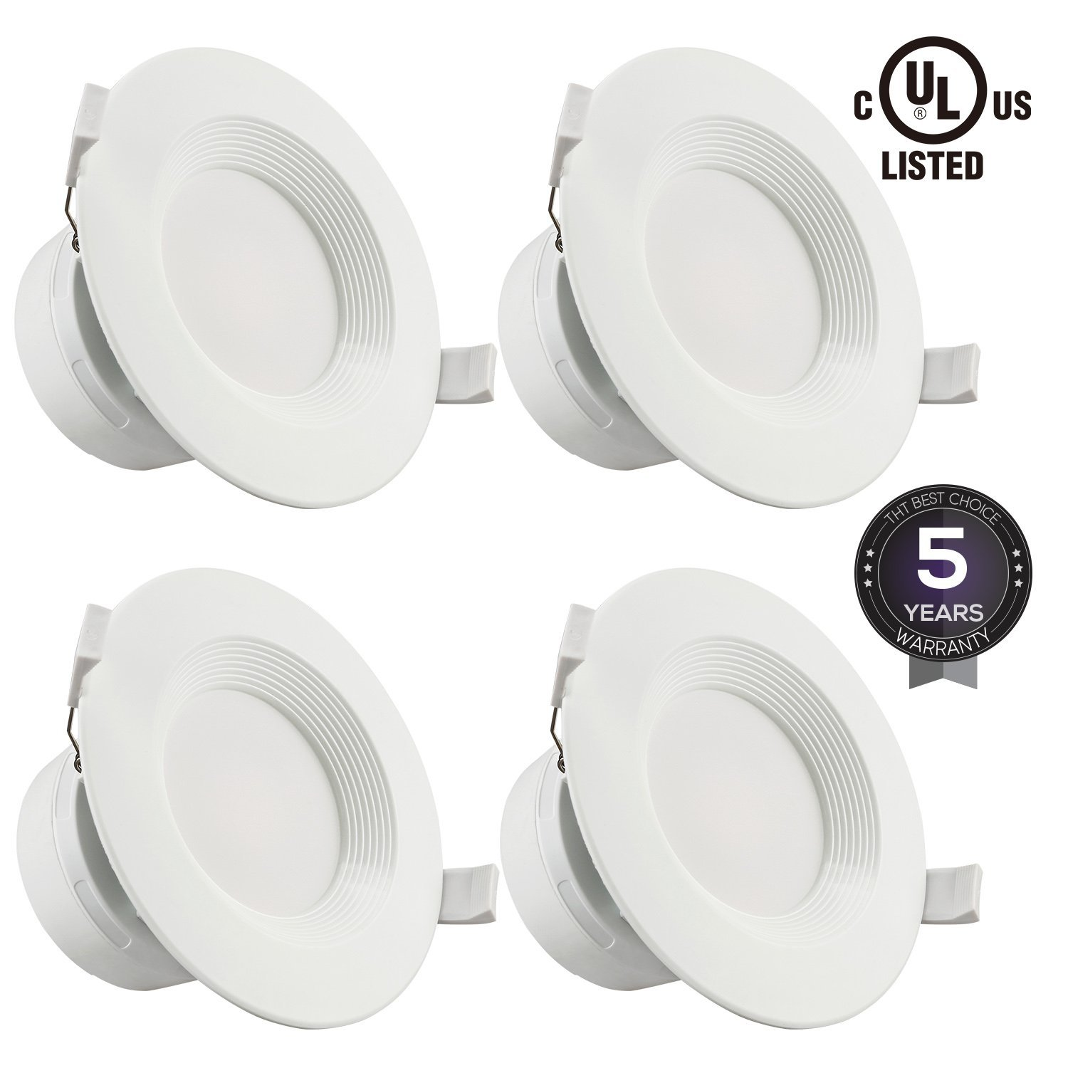 """4 PACK 4""""LED Recessed Downlight with Junction Box, 7W (60W Equivalent) Dimmable LED Ceiling Light Fixture, IC-Rated & Air Tight, Wet Location, 2700K Soft White, UL-listed, 5 Years Warranty"""