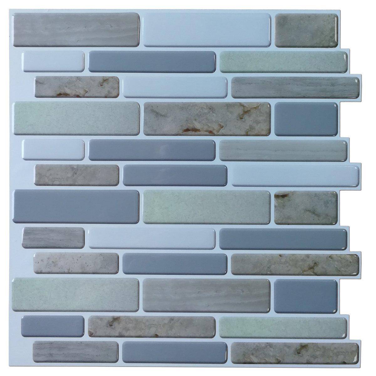 "Art3d 12""x12"" Peel and Stick Backsplah Tile Self Adhesive Mosaic Backsplash for Kitchen, Jade Design (6 Pack)"