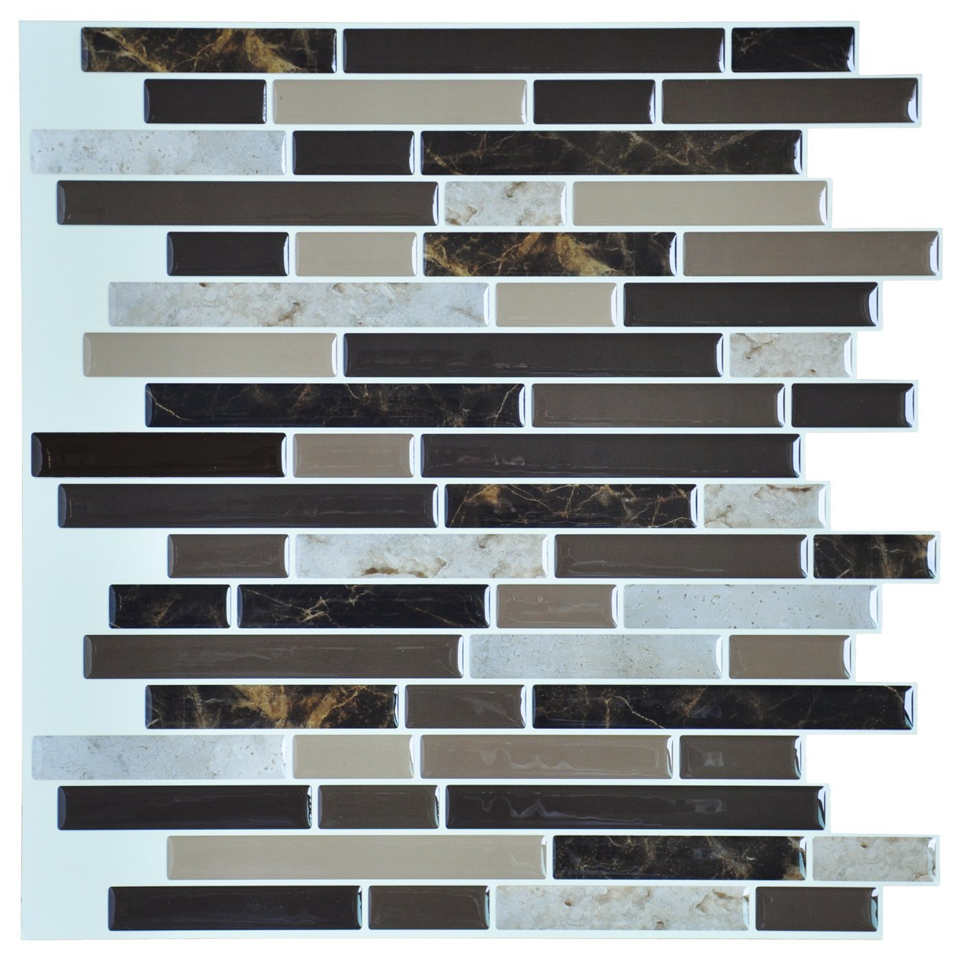 """Art3d 12""""x12"""" Self Adhesive Wall Tile Peel and Stick Backsplash for Kitchen, Long Marble Design (6 Pack)"""