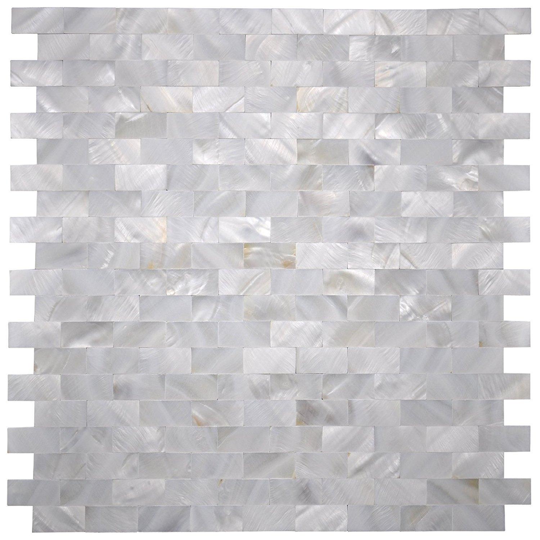 "Art3d 6-Pack White MOP Shell Mosaic Tile for Kitchen Backsplashes / Shower Wall, 12"" x 12"" Groutless Subway"