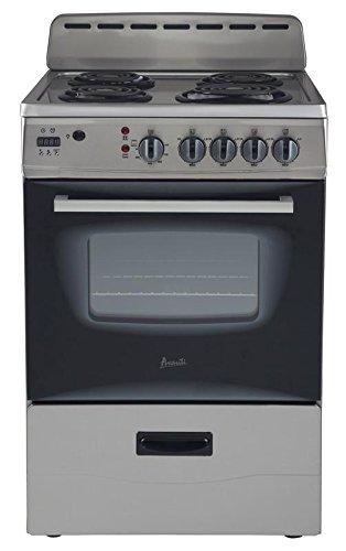 "Avanti ER24P3SG 24"" Freestanding Electric Range with Deluxe See-Thru Glass Oven Door in Stainless Steel"