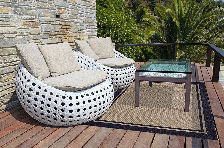 Brown Jordan Prime Label Outdoor Furniture Rug 5x7 Furman Collection Blue Sisal Woven Modern Patio Rugs, Navy