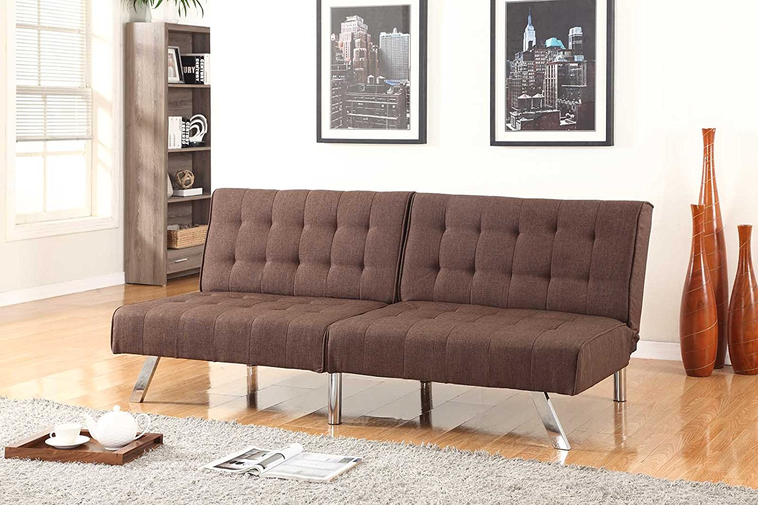"Chocolate Brown Linen With Split Back Adjustable Klik Klak Sofa Futon Bed Sleeper Convertible Quality 275brown_19 77"" Wide"