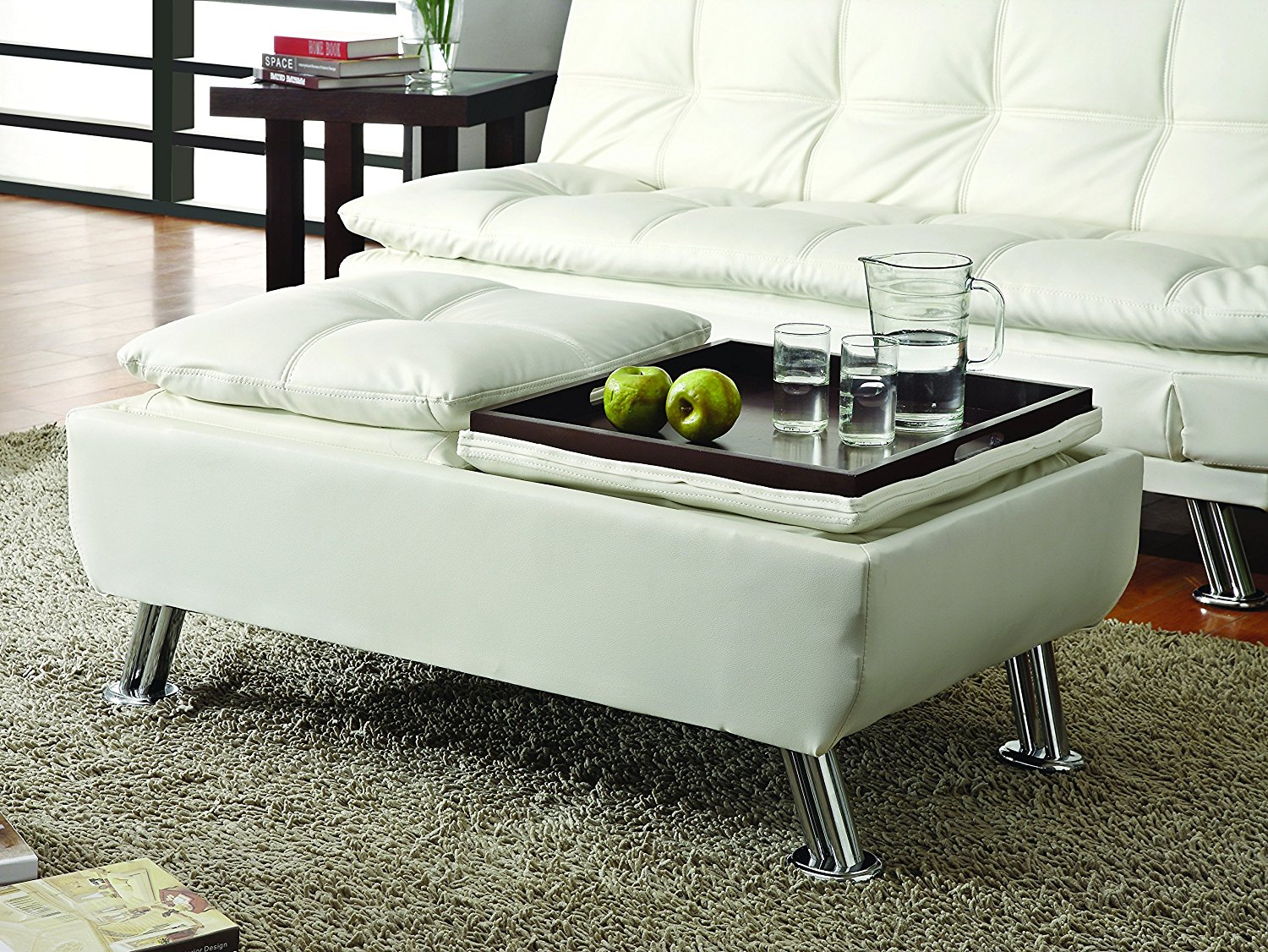 Coaster Home Furnishings Contemporary Ottoman, White