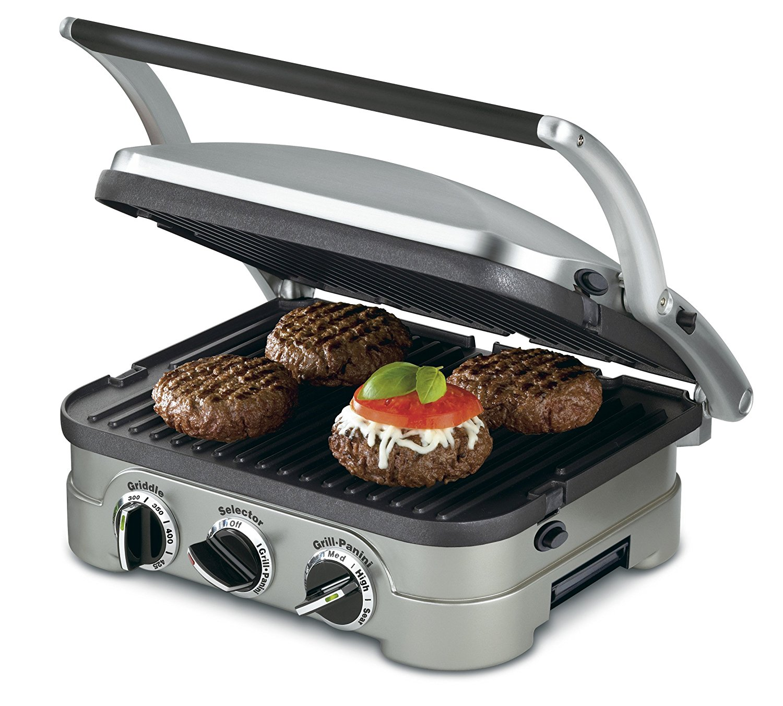 Cuisinart GR-4N 5-in-1 Griddler, Silver, Black Dials