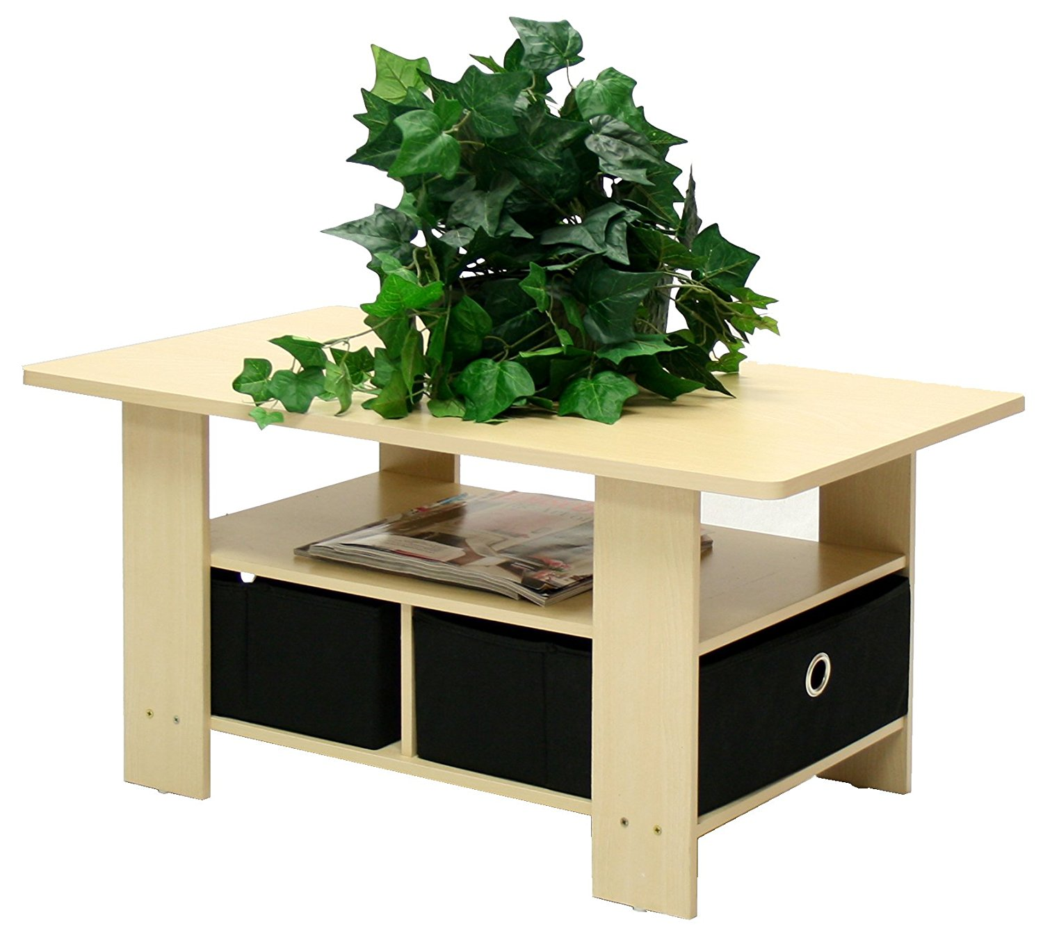 Furinno 11158SBE/BK Coffee Table with Bins, Steam Beech/Black