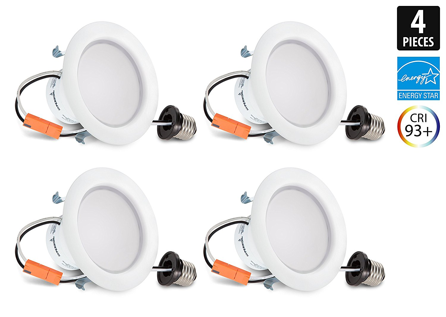 Hyperikon 4 Inch LED Downlight 9W (65W Equivalent), 4000K (Daylight Glow), Dimmable, CRI94, Retrofit LED Recessed Fixture, ENERGY STAR & UL-Listed - Great for Bathroom, Kitchen, Office - (4 Pack)