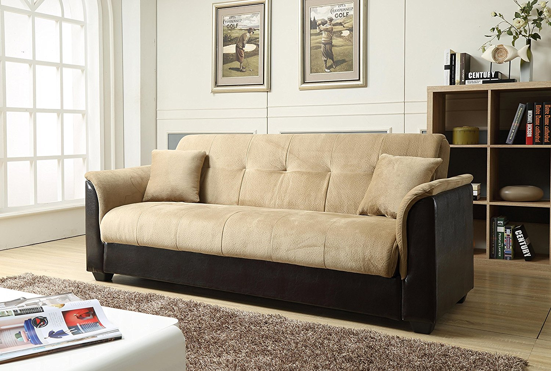 NHI Express Melanie Futon Sofa Bed with Storage, Brown