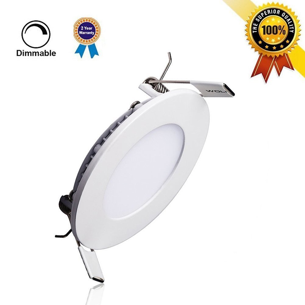 P&B Lighting 15W Dimmable Round LED Panel flush mount light, Ultra-thin Recessed Ceiling Lamp, 100W Incandescent Equivalent, 1200lm, Warm White 3000K, Cut Hole 7.1 Inch, Downlight with 110V LED Driver