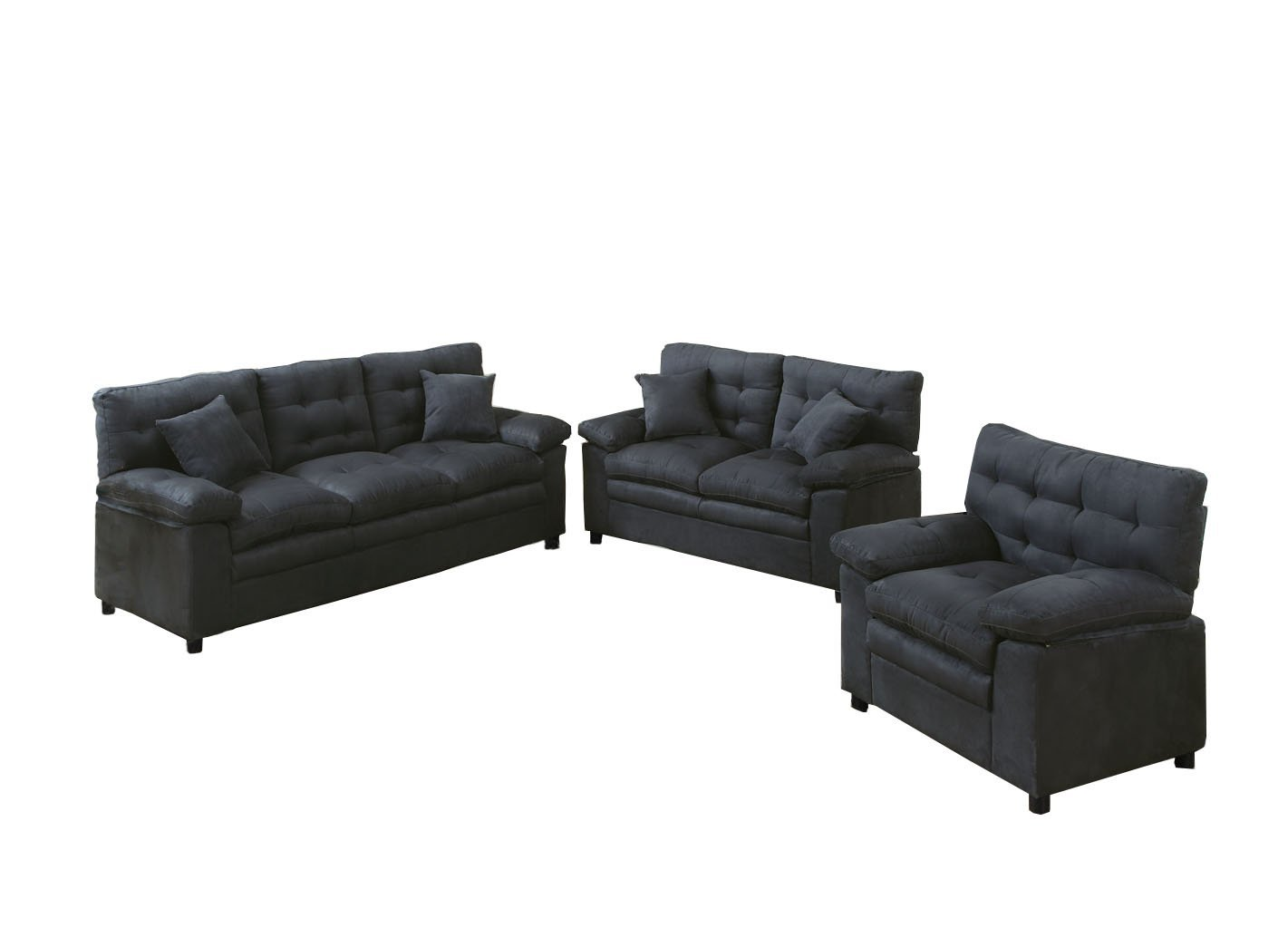 Poundex Bobkona Colona Mircosuede 3 Piece Sofa and Loveseat with Chair Set, Ash