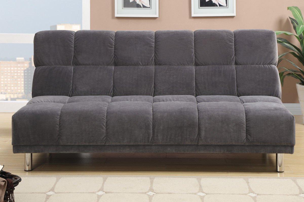 Poundex F7010 Gray Tufted Microfiber Fabric Adjustable Sofa
