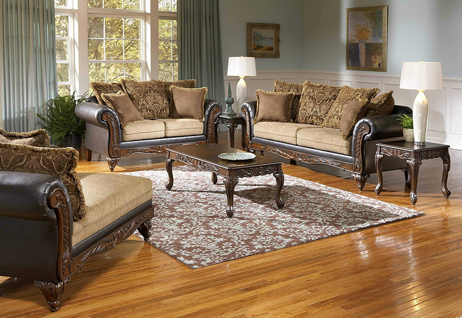 Roundhill Furniture San Antonio Traditional 2-Tone Sofa & Loveseat, Chocolate/Brown