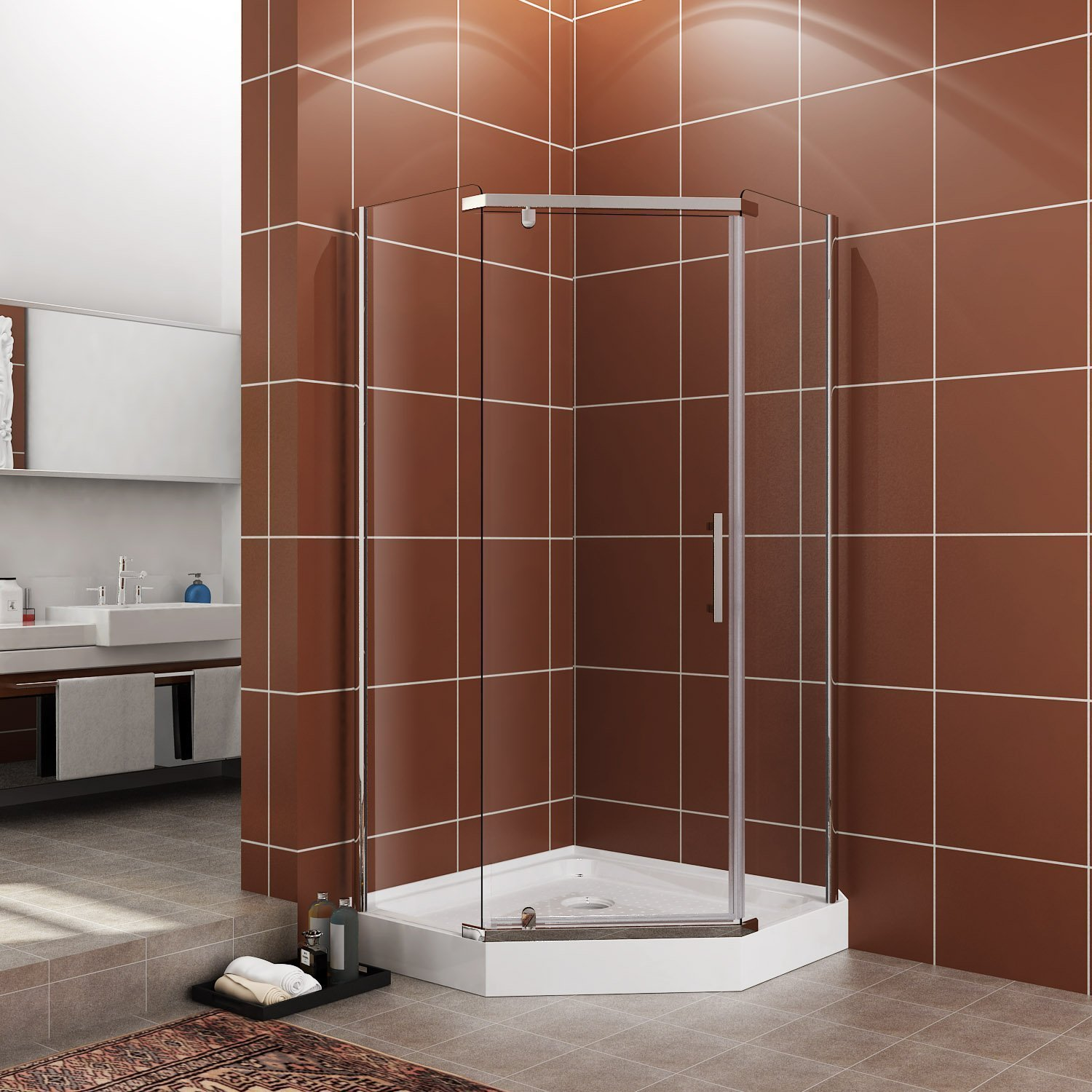 """SUNNY SHOWER Fit to 36 3/5"""" x 36 3/5"""" Neo Angle Shower Corner Door 1/4"""" Glass Frameless Pivot Door Stainless Steel-Door Only Not Included Back-wall & Base"""