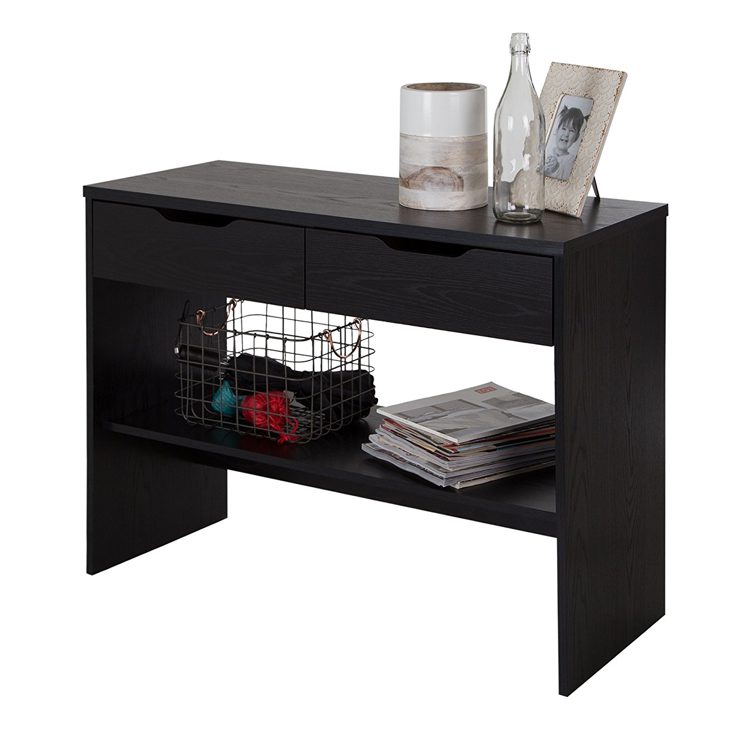 South Shore Flexible Console Table with 2 Drawers, Black Oak
