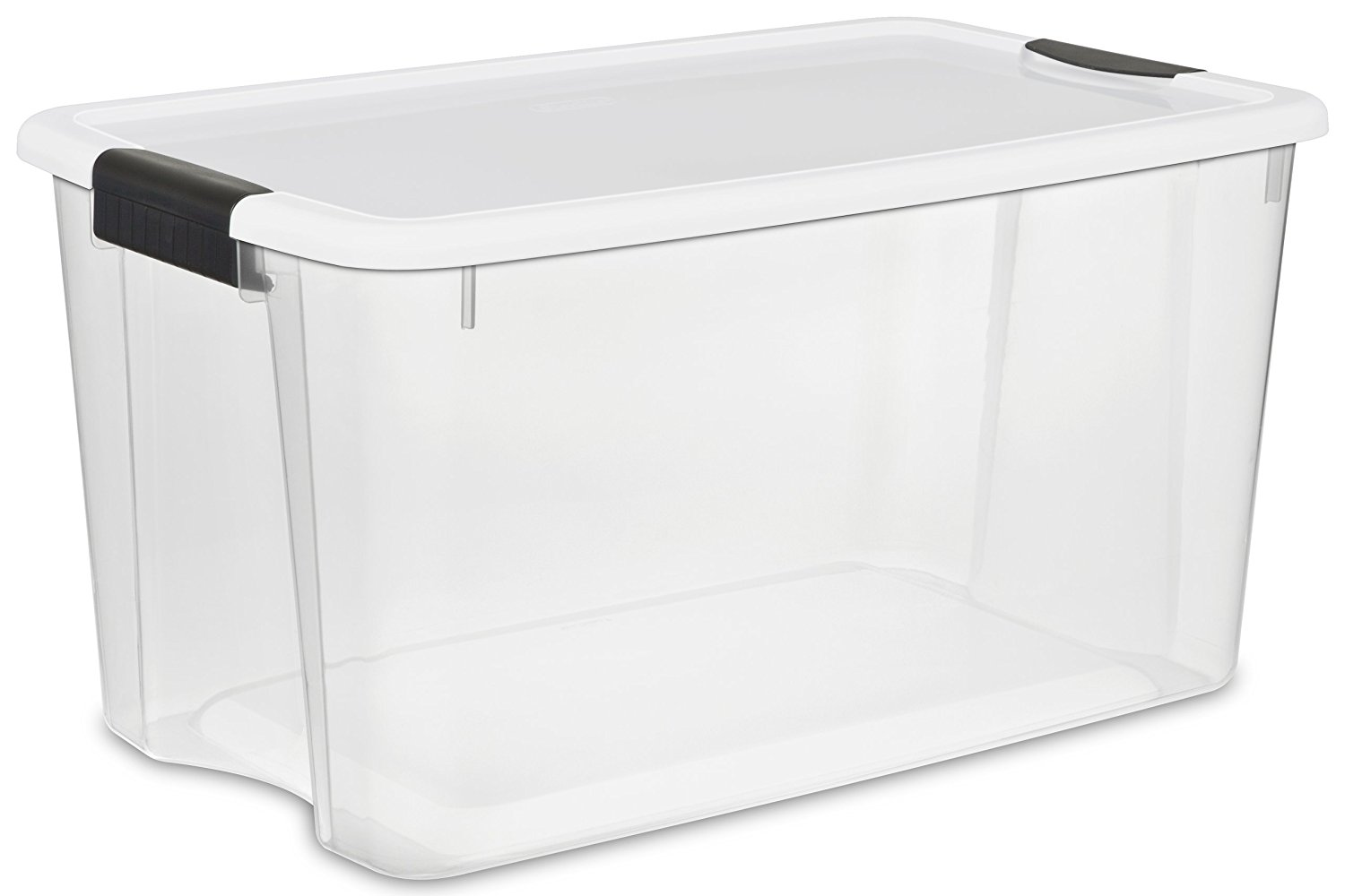 Sterilite 19889804 70 Quart/66 Liter Ultra Latch Box, Clear with a White Lid and Black Latches, 4-Pack