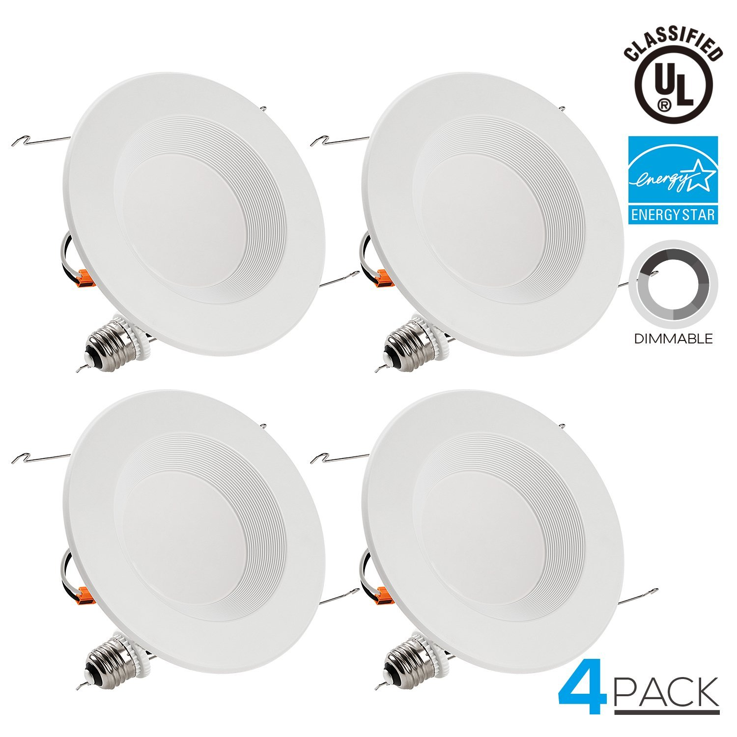 TORCHSTAR 5/6 Inch Dimmable Recessed LED Downlight, 13W (90W Equivalent), Energy Star, 2700K Soft White, 900lm, Retrofit LED Recessed Lighting Fixture, 5-YEAR Warranty, Pack of 4