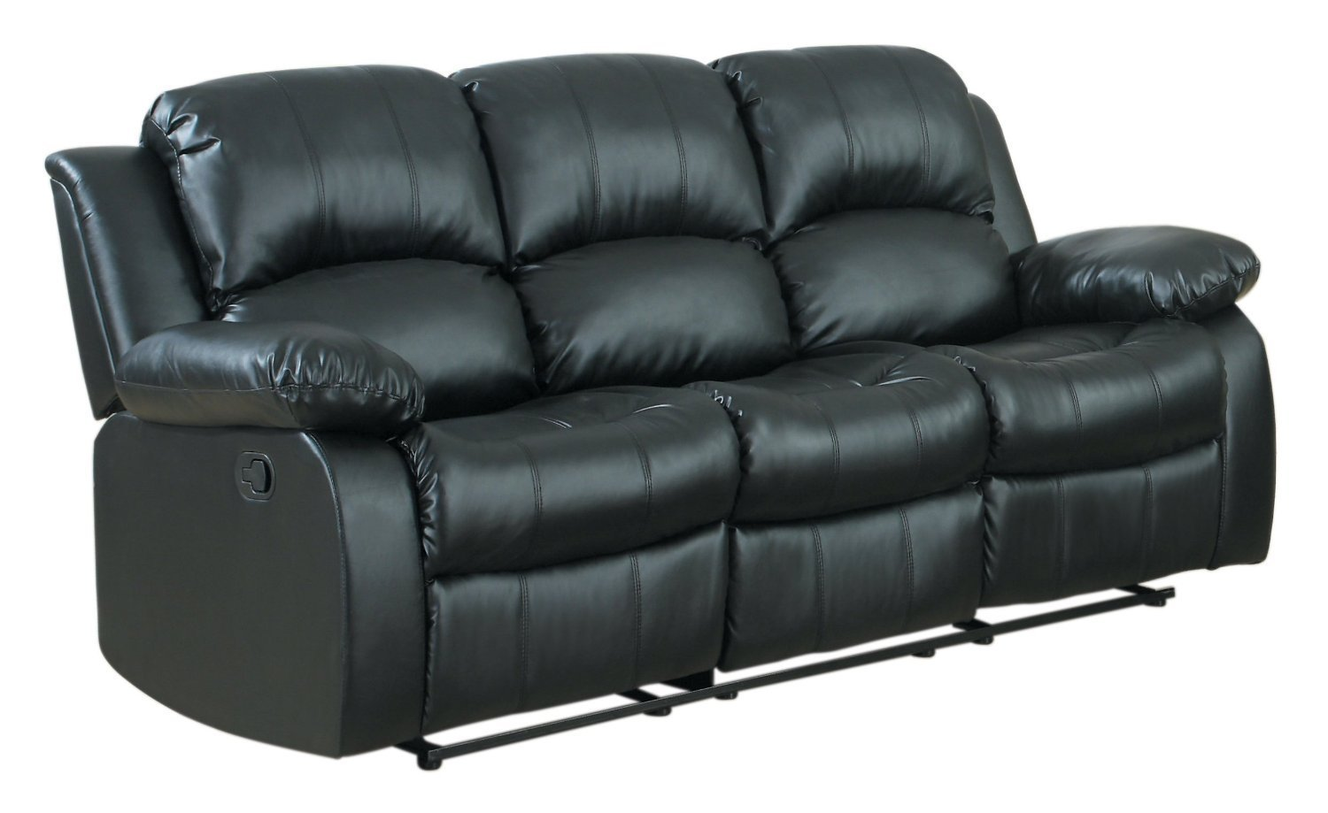 3 seat Sofa Double Recliner Black / Brown Bonded Leather (Black)