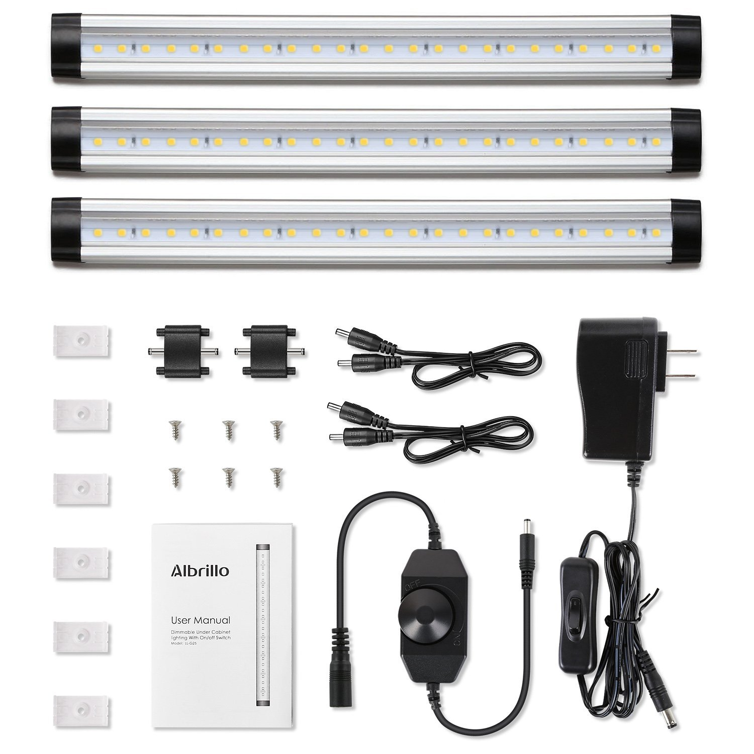 Albrillo LED Under Cabinet Lighting Dimmable Warm White, 12W 900 Lumens, 3 Pack