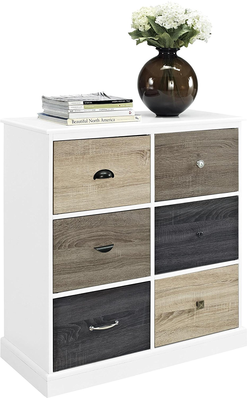 Altra Mercer 6 Door Storage Cabinet with Multicolored Door Fronts, White