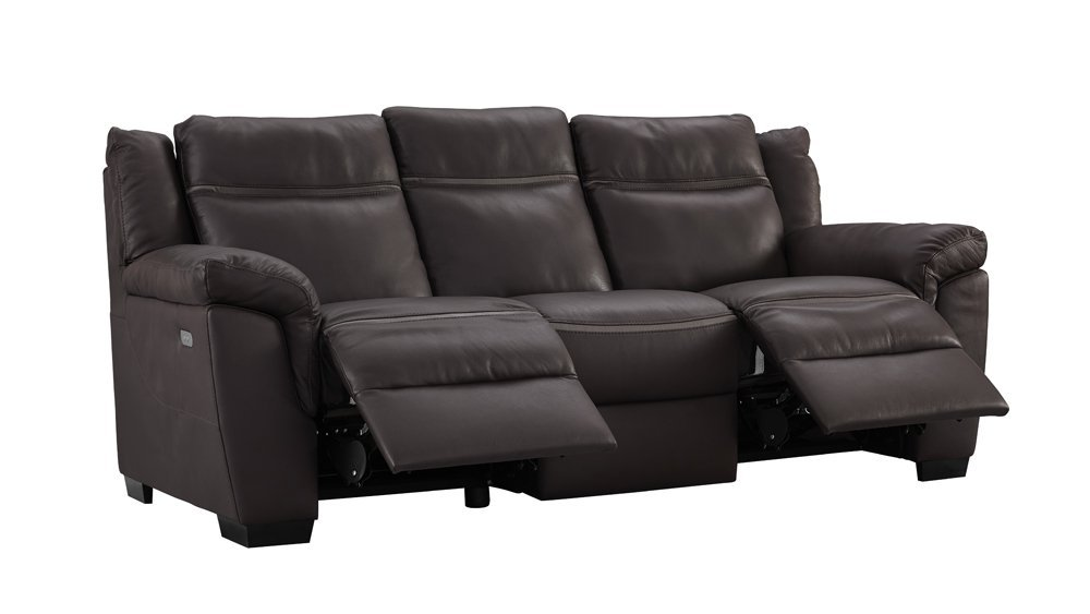 Amalfi Brown Leather Power Motion Reclining Sofa