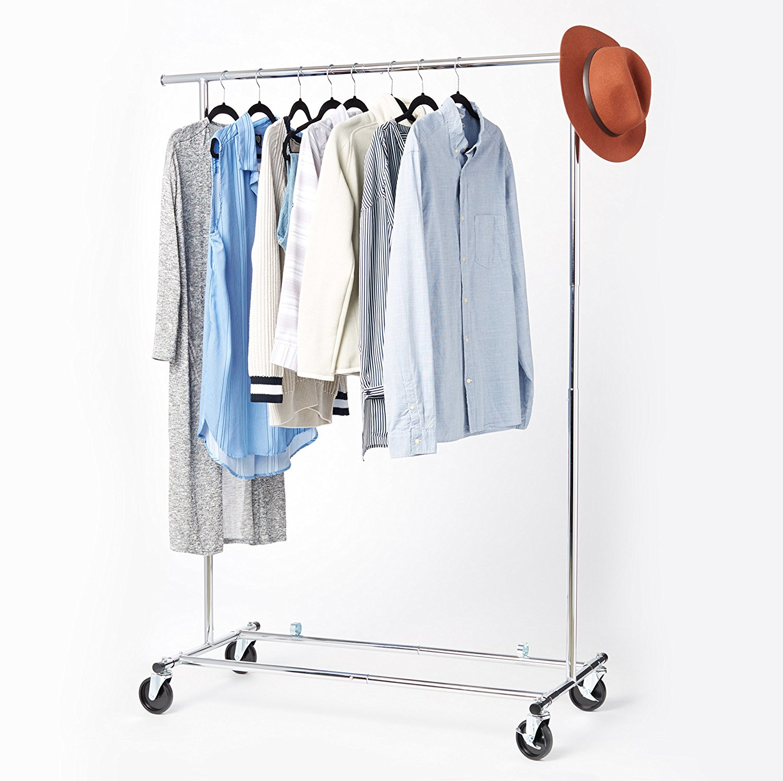 AmazonBasics Heavy Duty Steel Garment Rack on Wheels - Chrome