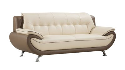 American Eagle Furniture Georgiana Collection Ultra Modern Living Room Leather Upholstered Sofa With Pillow Top Armrests and Tufting and Splayed Legs, Cream/Taupe