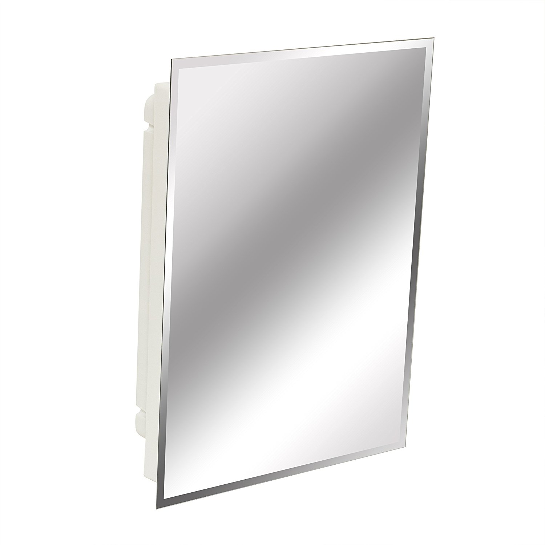 "American Pride 9622WBAR12 Recessed Frameless Beveled Polished Edge Mirror Medicine Cabinet, 16 x 22"""