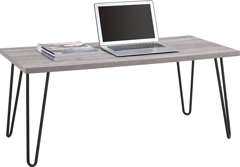 Ameriwood Home Owen Retro Coffee Table with Metal Legs (Gray Oak/Gunmetal Gray)