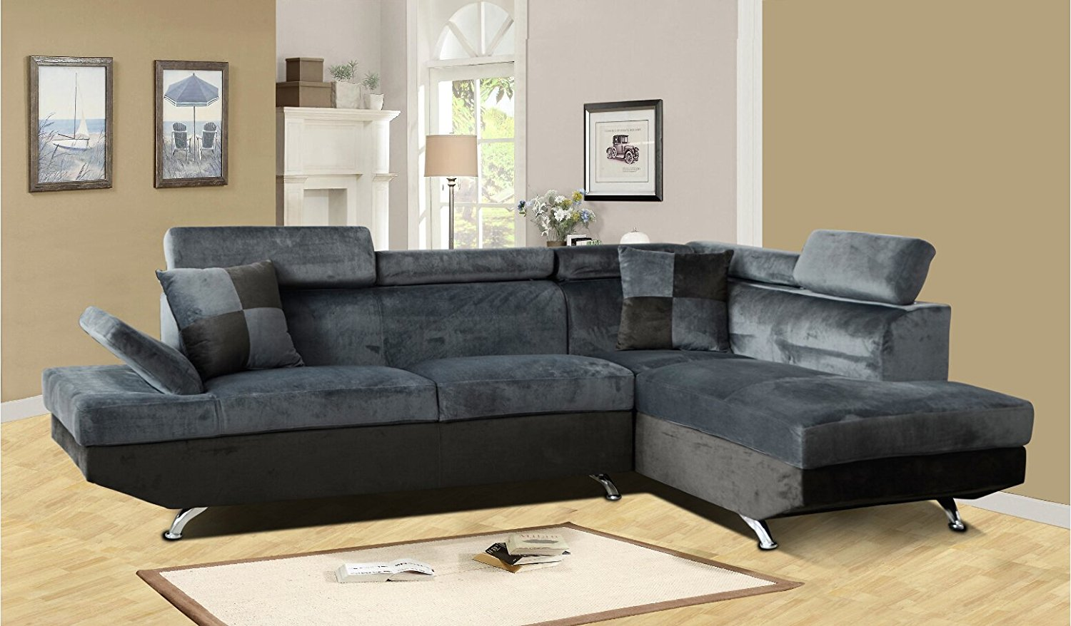 Beverly Furniture F2806B-2PC-GY 2 Piece Microfiber & Faux Leather Left Facing Sectional Sofa Set, Gray