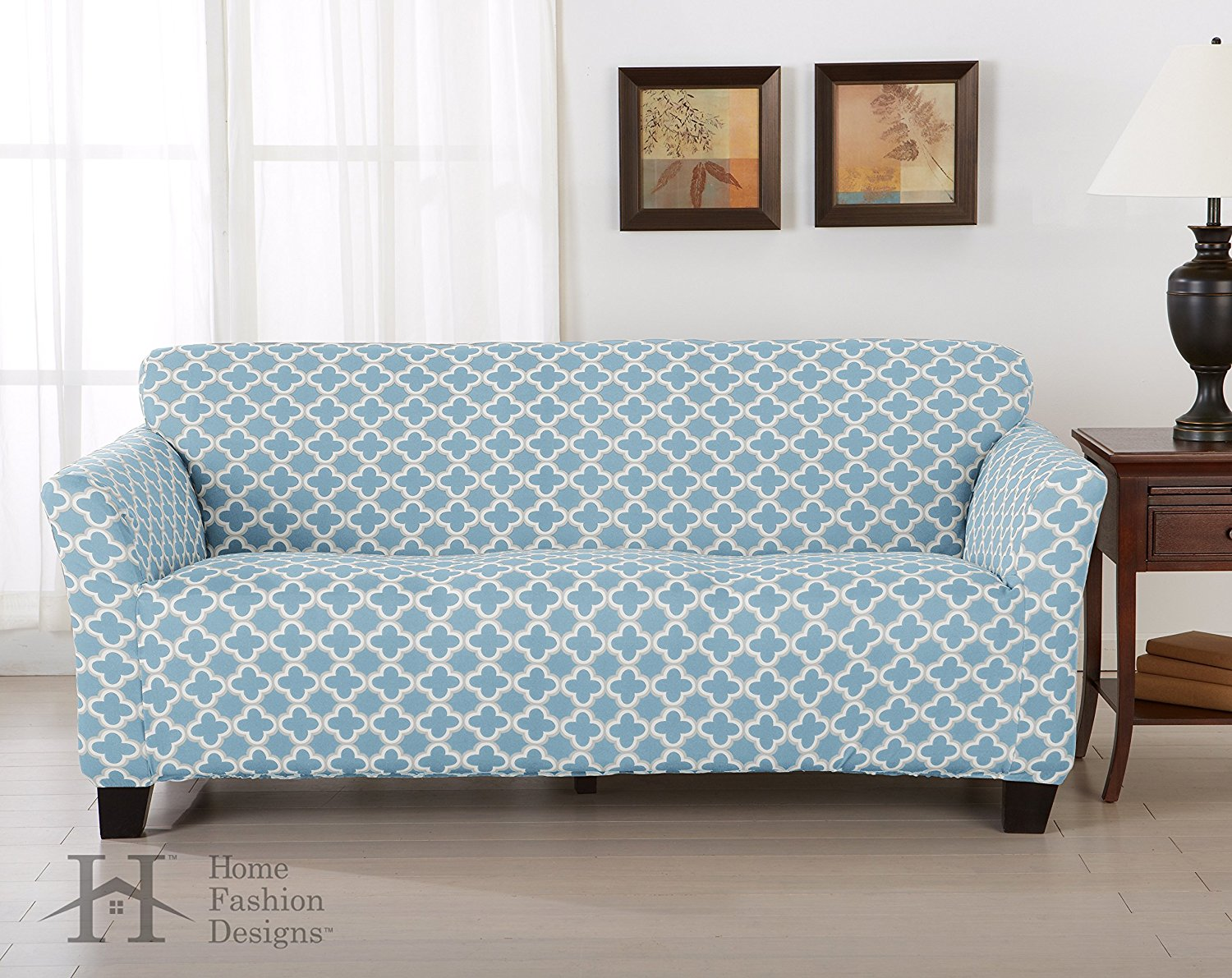Brenna Collection Basic Strapless Slipcover. Form Fit, Slip Resistant, Stylish Furniture Shield / Protector Featuring Lightweight Twill Fabric. By Home Fashion Designs Brand. (Sofa, Blue)
