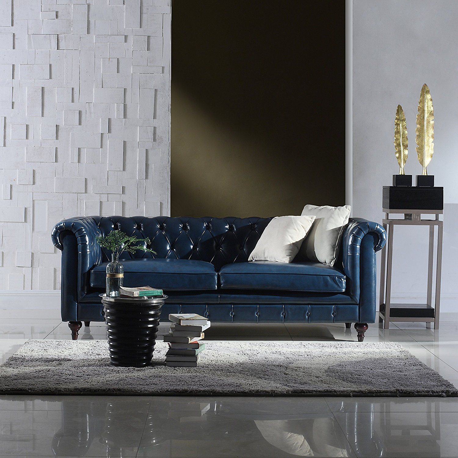 Classic Scroll Arm Real Italian Leather Chesterfield Sofa (Blue)