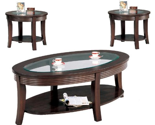 Coaster 5524 5525 Cappuccino Glass Top Wood 3 Pc Coffee End Table Set
