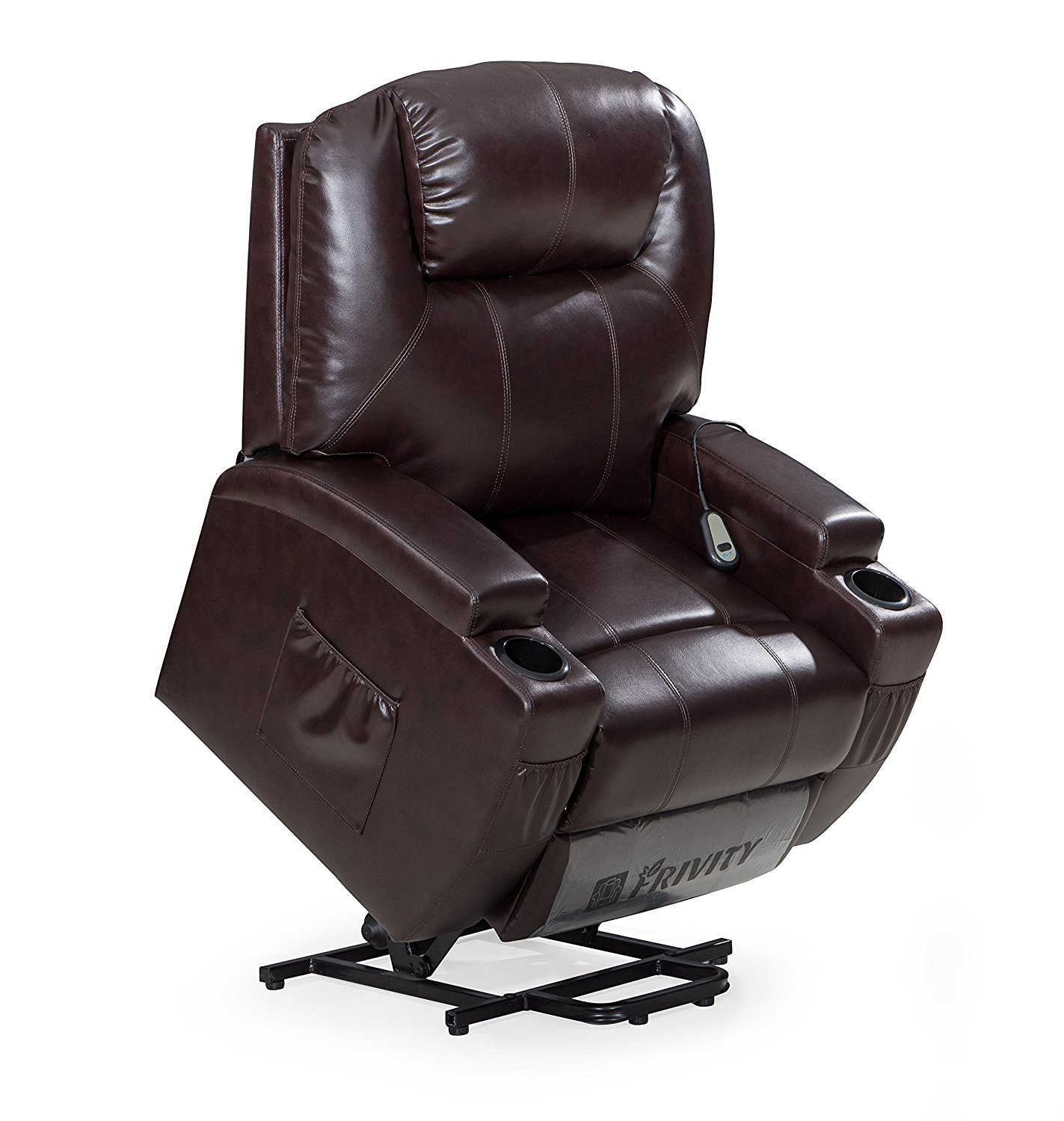 Frivity Power Lift Recliner Chair Classic and Traditional Bonded Leather 1 Seat Sofa Lift Reclining Armchair with Padded Arms and Back (Brown-Lift)