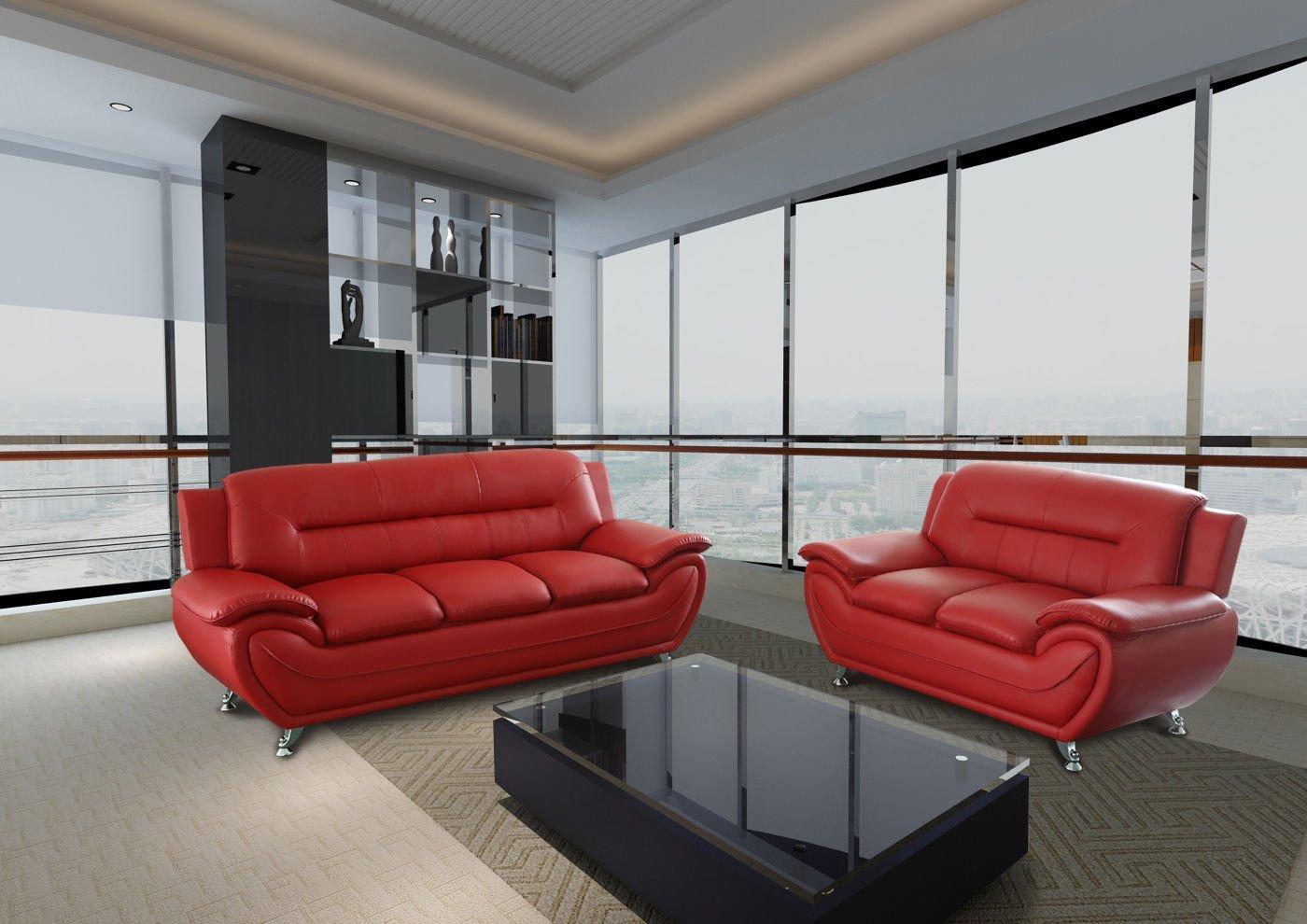 GTU Furniture Contemporary Bonded Leather Sofa & Loveseat Set, 2 Piece Sofa Set (RED)